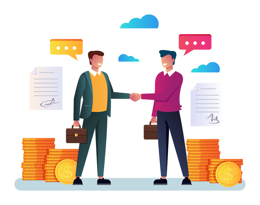 illustration of two financial businessmen shaking hands and speaking with eachother